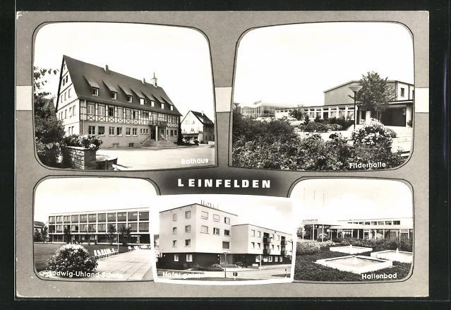 AK Leinfelden, Rathaus, Filderhalle, Hallenbad, Hotel Garni