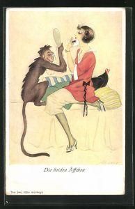 Künstler-AK Die beiden Äffchen, Affe hält einer Frau den Spiegel vor