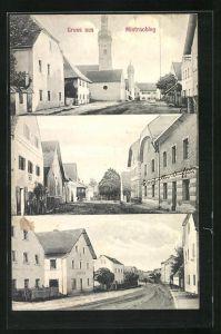 AK Mintraching, Strassenpartie mit Blick zur Kirche, Strasse im Ort