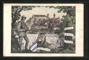 AK Nürnberg, Traditionskarte des II. Batl. Inf.-Regiment No. 21, Soldat in Uniform
