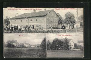 AK Oberellenbach, Gasthaus Karl Maierhofer`sche Tafernwirtschaft und Metzgerei, Pfarr- und Schulhaus