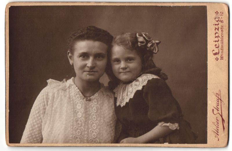 Fotografie Atelier Strauss, Leipzig, Portrait Mutter und Tochter