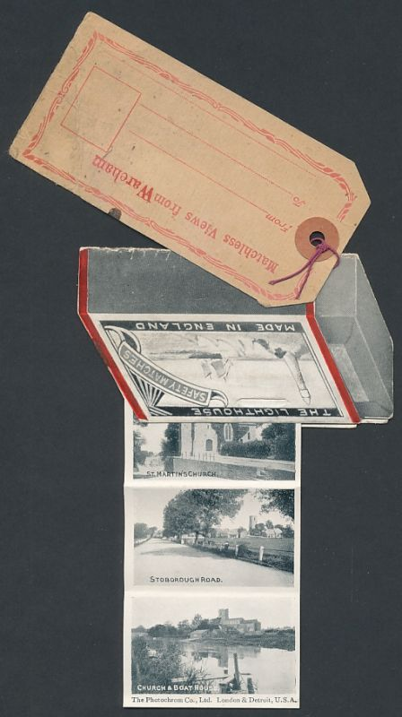 Leporello-AK Wareham, South Street, Old Mill, Church from Bridge, Streichholzschachtel mit Anhänger