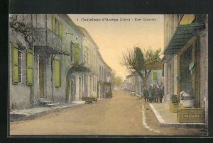 AK Calstelnau-d`Auzan, Rue Centrale, Strassenpartie