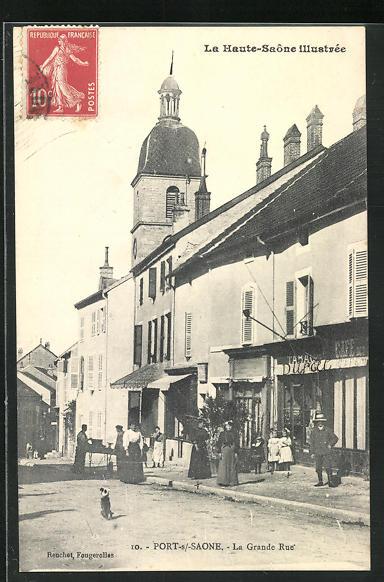 AK Port-sur-Saone, La Grande Rue, Strassenpartie