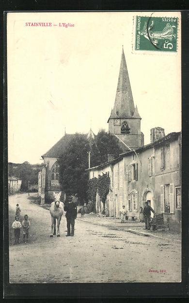 AK Stainville, L`Eglise, Strassenpartie bei der Kirche