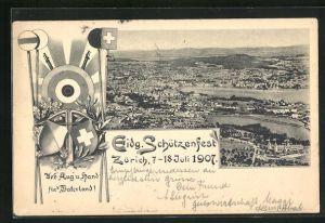AK Zürich, Eidg. Schützenfest 1907, Blick auf die Stadt