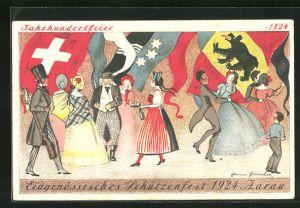 Künstler-AK Aarau, 100. Eidgenössisches Schützenfest 1924, beim Tanz