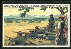 Künstler-AK Aarau, 100. Eidgenössisches Schützenfest 1924, Schiesswettbewerb