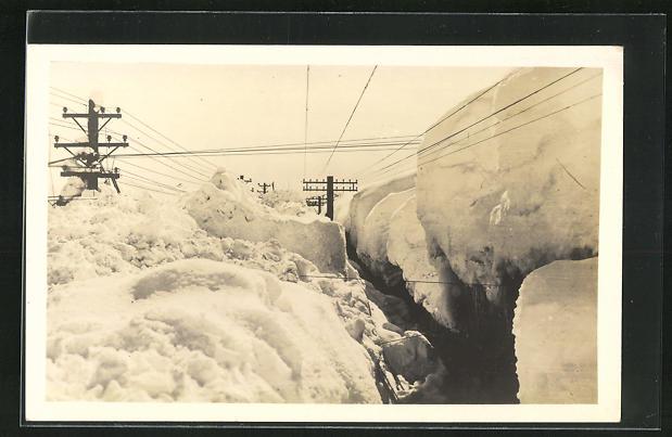 AK Japan, Hochspannungsleitungen im hohen Schnee