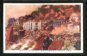 AK Yokohama, Stadt in Trümmern nach dem Erdbeben 1912