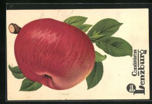 AK Reklame Hero Confitüren Lenzburg, Rotbäckiger Apfel