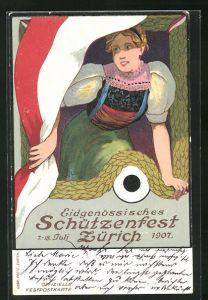 AK Zürich, Eidgenössisches Schützenfest Zürich 1907, Junge Frau in Tracht mit Flagge