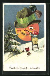 AK Lachender Vollmond mit Hut, bekommt vom Zwerg eine rote Nase angemalt