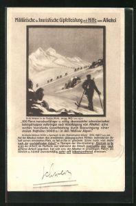 AK Militärische u. touristische Gipfelleistung mit Hilfe von Alkohol, Skifahrer in den Bergen, Anti-Alkohol-Werbung