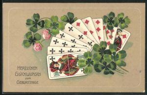 Präge-AK Kartenspiel u. Kleeblätter, Glückwunsch zum Geburtstag