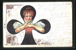 Lithographie Kreuz-Dame, Kartenspiel