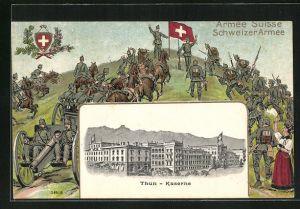 Präge-AK Thun, Kaserne mit Passepartoutrahmen Soldaten in Uniformen mit Kanone