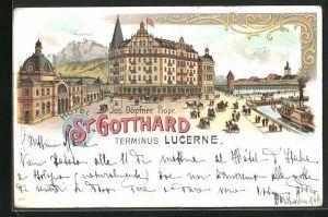 Lithographie Lucerne / Luzern, Hôtel St. Gotthard, Terminus Lucerne, Blick gegen Pilatus
