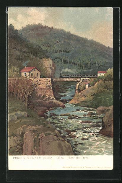 Lithographie Luino, Ferrovia Ponte Tresa, Eisenbahnbrücke