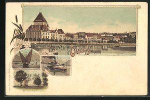 Lithographie Ouchy, Ansicht des Ortes, Ausflugsdampfer, Segelboot und Ruine