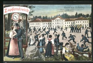 AK St. Gallen, Soldaten feiern den grossen Zapfenstreich