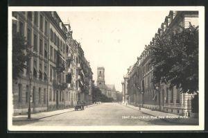 AK Neuchatel, Blick in die Rue des Beaux Arts gegen die Kirche