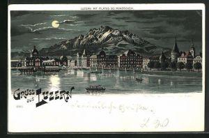 Lithographie Luzern, Ortsansicht mit Pilatus im Mondschein