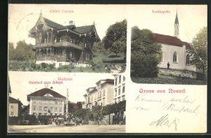 AK Ruswil, Eschkapelle, Chalet Triedau und Dorfplatz m. Gasthof zum Rössli
