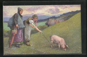 Künstler-AK Fritz Reiss: Schwarzwälder Leben, Mägde mit Schwein