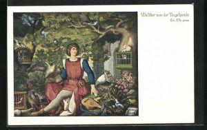 Künstler-AK sign. Ed. Ille: Walter von der Vogelweide, Jung Walther am Vogelherd