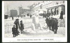AK La Chaux-de-Fonds, L`Ours de Neige, Janvier 1907, Eisplastik