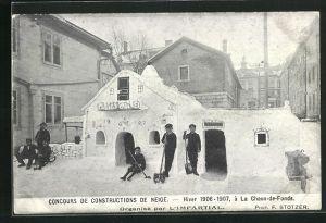 AK La Chaux-de-Fonds, Concours de Constructions de Neige 1906-07, Eisplastikwettbewerb