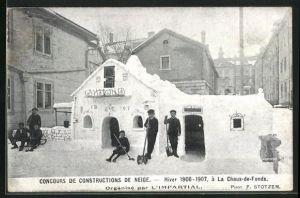 AK La Chaux-de-Fonds, Concours de Constructions de Neige 1906-07, Haus aus Eis