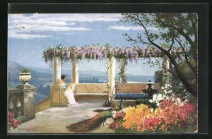 Künstler-AK Hermann Rüdisühli: Land der Träume, Dame auf Terrasse