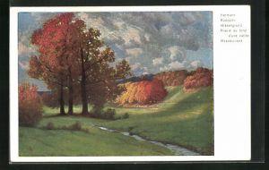 Künstler-AK Hermann Rüdisühli: Wiesengrund, Herbstlandschaft