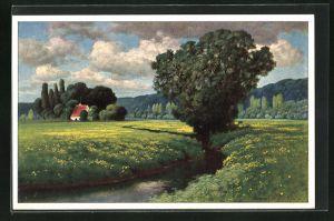 Künstler-AK Hermann Rüdisühli: Bächlein am Wiesenrand