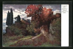 Künstler-AK Hermann Rüdisühli: Schlossruine, Landschaft