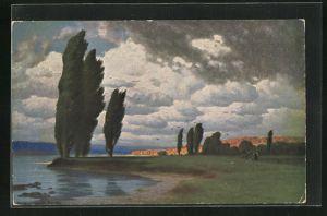 Künstler-AK Hermann Rüdisühli: Herbstwind, Landschaft am Ufer