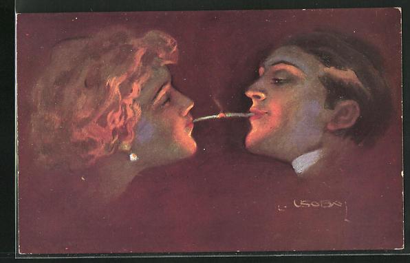 Künstler-AK Luis Usabal: Liebespaar mit Zigarette