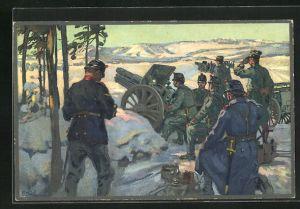 Künstler-AK sign. E. Hodel: Artillerie en position, schweizer Militär