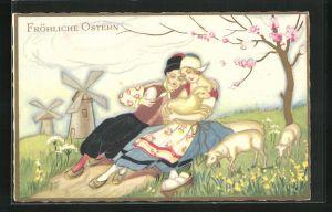 Künstler-AK Carlo Chiostri: Fröhliche Ostern, Hirtenpaar mit Lamm und Ei