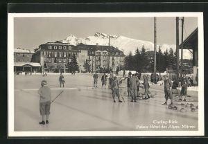 AK Mürren, Curling-Rink, Palace Hôtel des Alpes, Wintersportler
