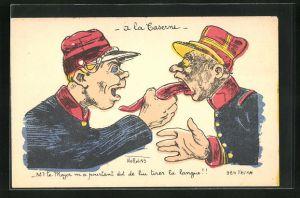 Künstler-AK Philippe Norwins: À la Caserne, Soldat zieht Major die Zunge heraus