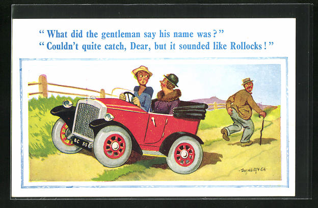 Künstler-AK Donald McGill: What did the Gentleman say his Name was?, Scherz, Auto