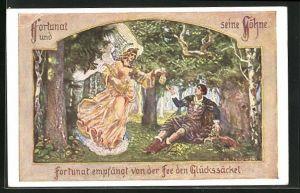 Künstler-AK sign. Janowski: Die deutschen Volksbücher, Fortunat und seine Söhne
