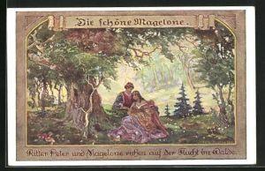 Künstler-AK sign. Janowski: Die deutschen Volksbücher, Die schöne Magelone und Ritter Peter