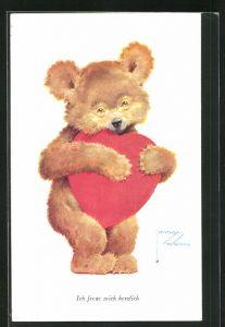 Künstler-AK Lawson Wood: Teddybär freut sich herzlich