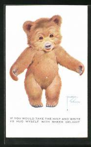 Künstler-AK Lawson Wood: If you would take the hint..., Teddybär breitet seine Arme aus