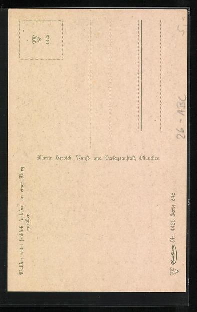 Künstler-AK sign. Ed. Ille: Walther von der Vogelweide hoch zu Ross 1